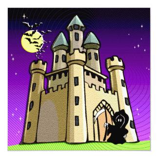 """Palos y parca del castillo en la puerta del invitación 5.25"""" x 5.25"""""""