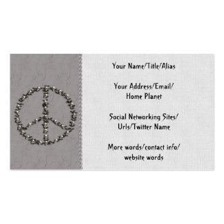 Palos y signo de la paz de los cráneos tarjetas de visita