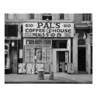 Pal's Coffee House, 1939. Vintage Photo Poster