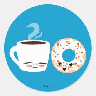 Pals del café y del buñuelo pegatina redonda
