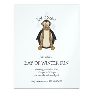 Pals del pingüino · Dejáis le nevar Invitación 10,8 X 13,9 Cm