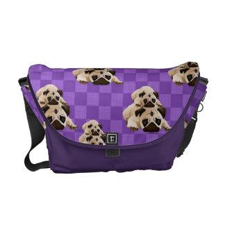 Pals dulces del barro amasado en cuadrados púrpura bolsa de mensajeria