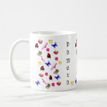 Pamela, Name Logo With Bunnies Parrots Butterflies Coffee Mug