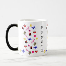 Pamela, Name Logo With Bunnies Parrots Butterflies Magic Mug