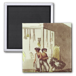 Pampa Indians at a Store in the Indian Market 2 Inch Square Magnet