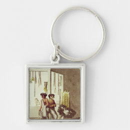 Pampa Indians at a Store in the Indian Market Keychain
