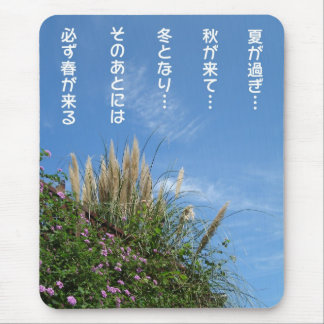 pampas grass and blue sky mouse pad