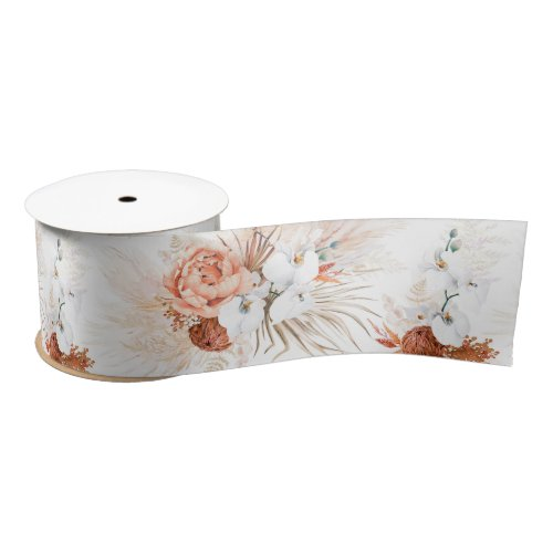 Pampas Grass and Terracotta Flowers Satin Ribbon