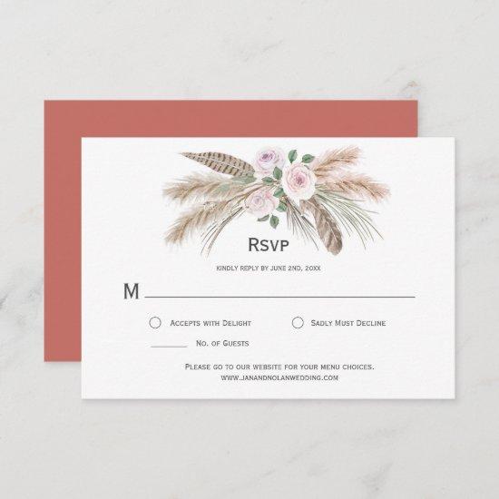 Pampas Grass Boho Feathers Terra Cotta Pink Floral RSVP Card