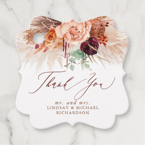 Pampas Grass Floral Terracotta Wedding Thank You Favor Tags