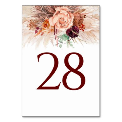 Pampas Grass Terracotta Table Number Cards