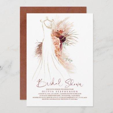 Pampas Grass Wedding Gown Terracotta Bridal Shower Invitation