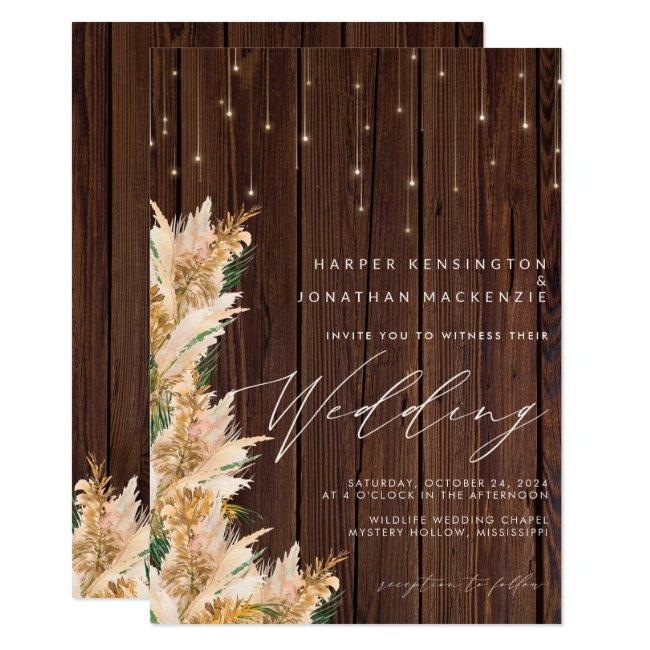 Pampas Grass Wood Twinkle Lights Boho Wedding Invitation