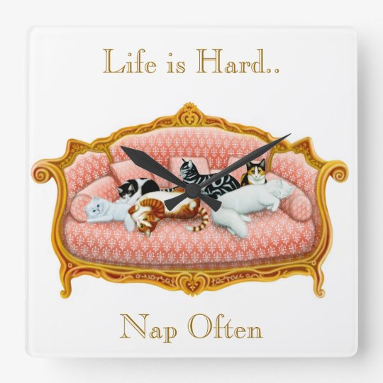 Pampered Couch Cats Customizable Wall Clock