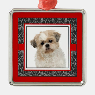 Pampered Pet Elegant Damask Dog / Cat Photo Square Metal Christmas Ornament