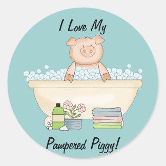 Pampered Piggy Classic Round Sticker