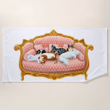 Beach Themed Pampered Sofa Cats Beach Towel