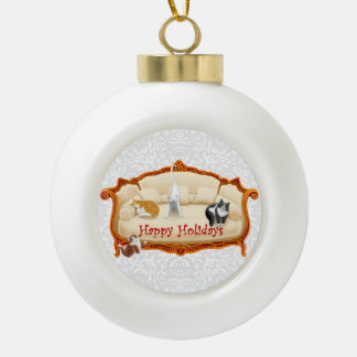 Pampered Victorian Couch Cats Holiday Ornament