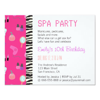 Pampering Spa Party, For Girls 4.25x5.5 Paper Invitation Card