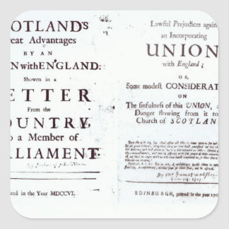 Pamphlets showing both sides square sticker