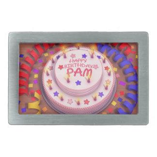 Pam's Birthday Cake Rectangular Belt Buckle