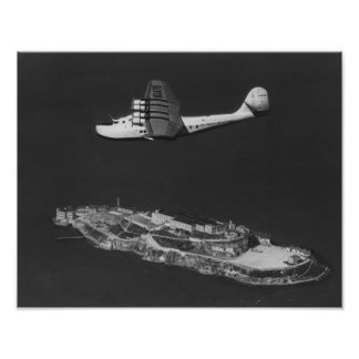 Pan American China Clipper Flying Over Poster