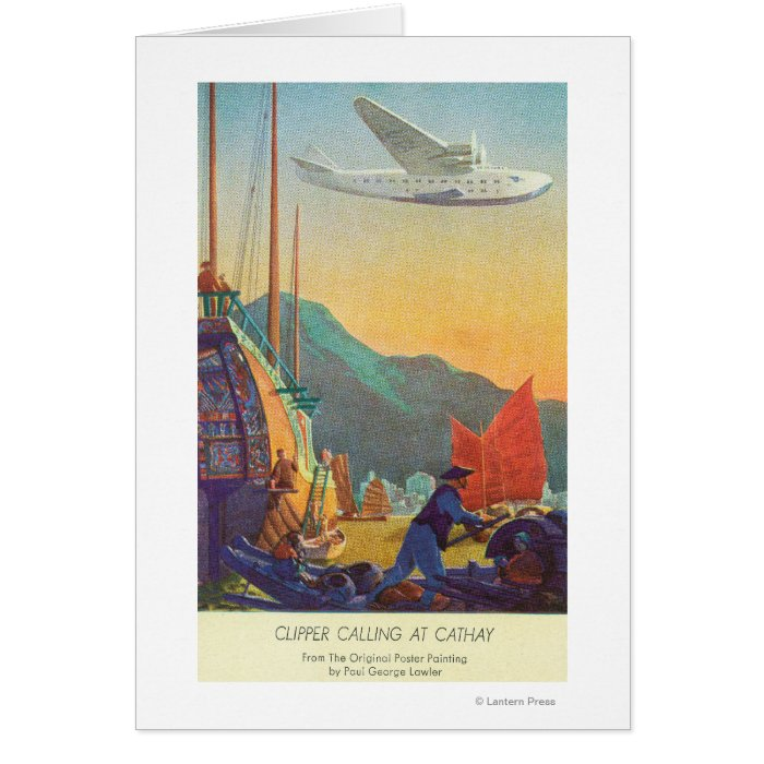 Pan-American Clipper Flying Over China Card