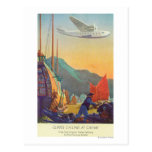 Pan-American Clipper Flying Over China Post Card