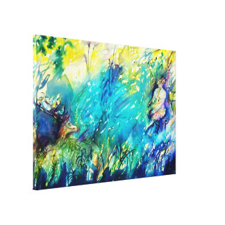 PAN AND DEER ,blue green yellow Canvas Print
