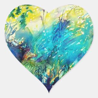 PAN AND DEER Detail / Beauty Nature Lover Heart Sticker
