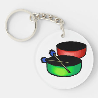 pan black head drums with mallets music percussion keychain