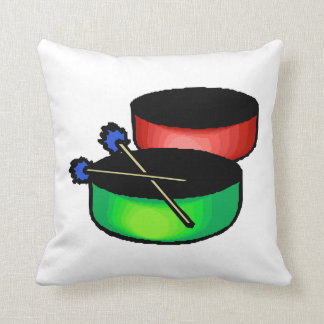 pan black head drums with mallets music percussion throw pillow