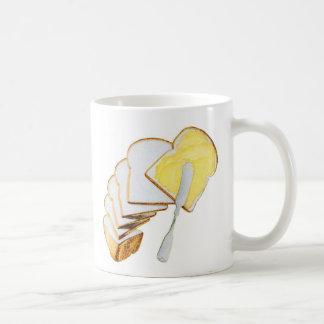Pan blanco y mantequilla del kitsch retro del taza de café