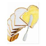 Pan blanco y mantequilla del kitsch retro del vint postales