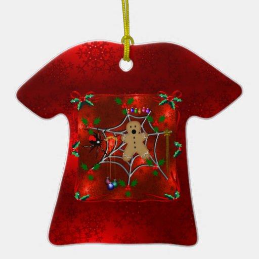 Pan de jengibre atrapado adorno navideño de cerámica en forma de playera