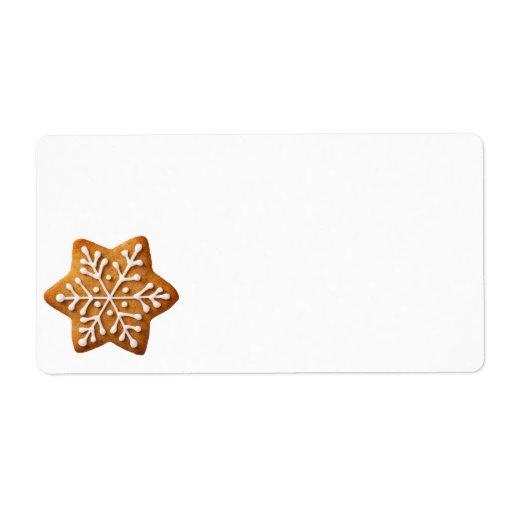 Pan de jengibre del navidad de la forma de la estr etiquetas de envío