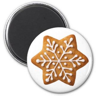 Pan de jengibre del navidad de la forma de la estr imán redondo 5 cm