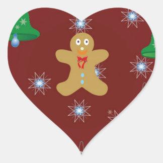 Pan de jengibre del navidad pegatina en forma de corazón