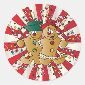 Pan de jengibre lindo del caramelo etiqueta redonda