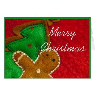 Pan de jengibre y árbol de navidad tarjeton