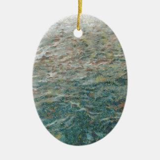 pan de la alimentación infantil a los pescados adorno ovalado de cerámica