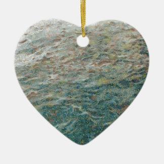 pan de la alimentación infantil a los pescados adorno de cerámica en forma de corazón