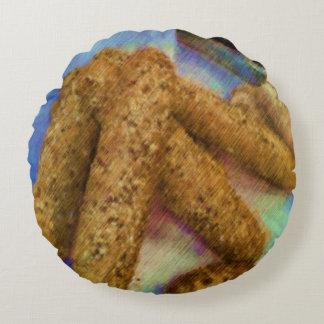 Pan del dibujo de la foto cojín redondo