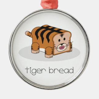 Pan del tigre adorno redondo plateado