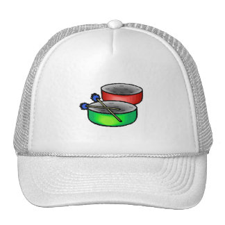 pan drums with mallets music percussion.png trucker hat
