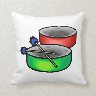 pan drums with mallets music percussion.png throw pillow
