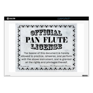 "Pan Flute License Decal For 17"" Laptop"