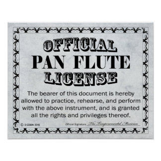 Pan Flute License Poster