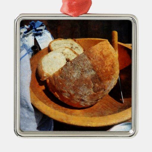 Pan hecho en casa adorno cuadrado plateado