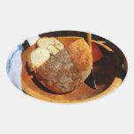 Pan hecho en casa pegatina ovalada